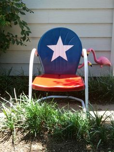 An easy weekend project.  An old red metal chair that had oxidized and chipped refurbishes into this cute piece.
