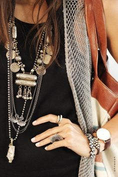 Tribal ethnic rustic silver stacked necklaces, rings and bracelets #jewelry