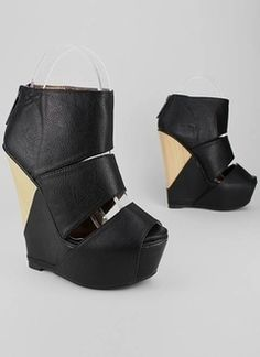 triple strap wedge $41.80 in BEIGE BLACK - Wedges | GoJane.com - StyleSays