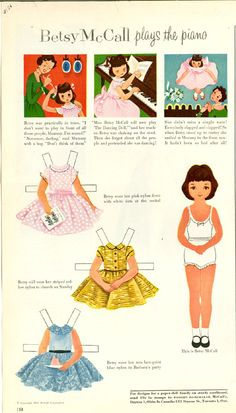 Vintage March 1954 Magazine Paper Doll Betsy McCall Plays the Piano