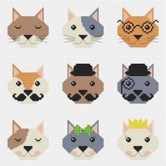 Nine cute cats cross stitch pattern Cats easy cross by AnnaXStitch