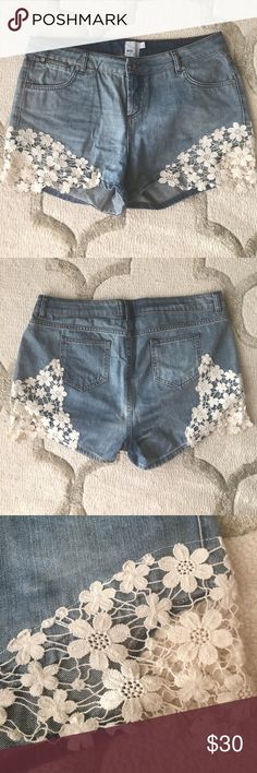 ASOS Curve Denim Shorts with Lace Detail Really cute denim shorts with lace detail on each leg. Worn only a few times. ASOS Curve Shorts Jean Shorts