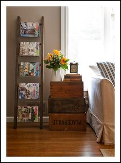 Not a Fan of the Ladder-Turned Magazine Rack, Simply B c the Ladder-Turned  Blanket Holder is Just Soo Much More Cozy. But, Love this Layout  Upcycled  Ladder ... 395f06433386