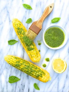Corn on the Cob with Lemon Basil Pesto