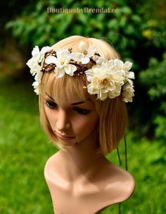 Elegant Cream Flower Crown by BoutiquebyBrendaLee on Etsy