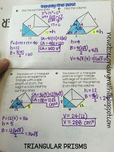 FREE Surface Area and Volume of Prisms Foldable