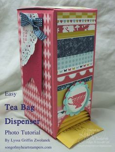 Great little project ~ tea bags never go out of style~ This would be a great thing to make if you have a friend in Mary Kay or some business where they have free sample packs. Nice way to store them; bring them to client's homes, etc.