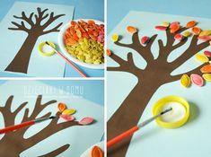 Мастерим с детьми  - осеннее дерево с тыквенными семечками