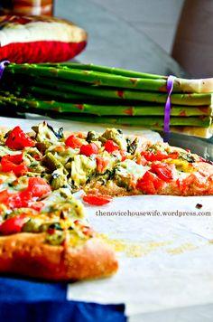 March SRC: Spinach Artichoke Whole Wheat Pizza | The Novice Housewife