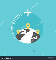 Maps and pins 3 by alfredo hernandez location map icons and around the world travelling by plane airplane trip in various country travel pin location on a global map flat icon modern design style vector gumiabroncs Gallery