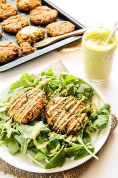 Sweet Potato and Lentil Cakes With Lemony Avocado Sauce