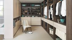 This dressing room features a Vison and Tabacco melamine finish. Living Room Storage, Storage Room, Storage Spaces, Made To Measure Wardrobes, Fitted Wardrobes, Schmidt, Color Vison, Corner Wardrobe, Design Your Own