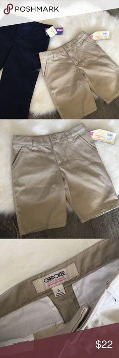 { Cherokee } School Uniform bundle Cherokee School Uniform bundle of one pant in blue size 4 and one short in khaki size 5. Perfect for the school year. Bundle and save. Cherokee Bottoms