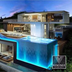142 stunning modern dream house exterior design ideas-page 4 Dream Home Design, Modern House Design, Cool House Designs, Pool Designs, Luxury Homes Dream Houses, Luxury Life, Modern Mansion, Modern Houses, Cool Houses