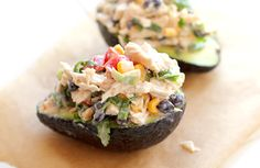 creamy avocado chicken salad... my version: smash the avocado, add diced chicken, corn, black beans, green onions, tomatoes, salt, pepper, lime juice and red pepper.  oh my!  delish!!!