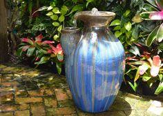Beautiful blue glazed garden fountain. The Pottery Patch. Excelsa Gardens. Loxahatchee, FL