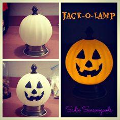 "Jack-o-Lamp: Salvaged Light Fixture ""Pumpkin"""