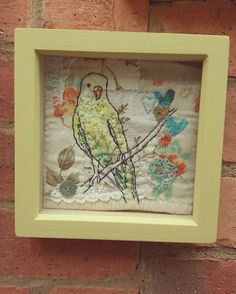 Mixed media vintage textile art by Emily henson. Yellow budgie. www.facebook.com/bibliboo Embroidery, quilting, appliqué, paint