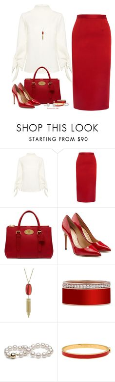"""Red & White"" by houston555-396 ❤ liked on Polyvore featuring TIBI, Roland Mouret, Mulberry, Salvatore Ferragamo, Kendra Scott and Halcyon Days"