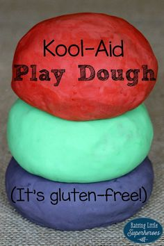Kool-Aid Play Dough is gluten-free, safe for young children to put in their mouths, and has a sweet aroma that sensory sensitive kids will enjoy.