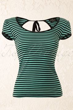Steady Clothing - Mindy Top Striped Black Mint