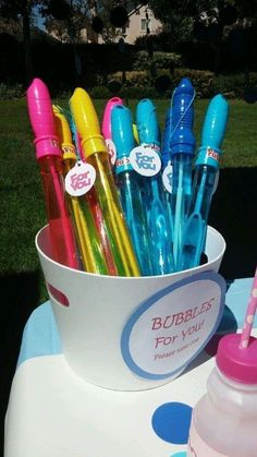 Bubbles Birthday Party Favors! See more party planning ideas at http://CatchMyParty.com! #kids kids parties #party kids party ideas