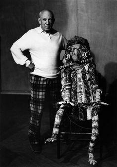 Picasso et « Le Monstre de Matisse » - La Californie, Cannes 1956 © Lucien Clergue