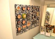 DIY Makeup Storage magnetic makeup holder L « lizmarieblog.com
