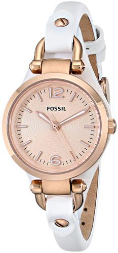 Fossil ES3265 Georgia Rose Gold Dial Leather Strap Women's Watch #Fossil #Casual