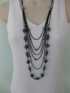 Long Chunky Black Silver Blue Beaded Necklace by RalstonOriginals, $15.00