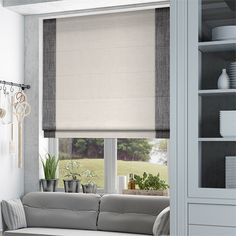 Atlanta Mono White Roman Blind from Blinds 2go