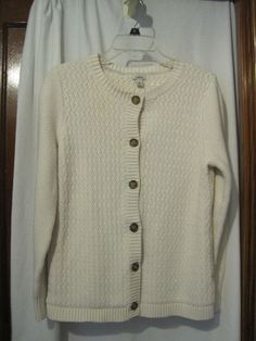 L.L. Bean Womens Size L Large Cream Colored Cable Knit Cardigan Sweater #LLBean #Cardigan