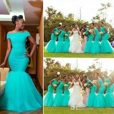 2016 New African Mermaid Long Bridesmaid Dresses Off Should Turquoise Mint Tulle Lace Appliques Plus Size Maid of Honor Bridal Party Gowns Online with $109.55/Piece on Haiyan4419's Store | DHgate.com