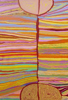 Judy Napangardi Watson  Mina Mina Jukurrpa (Mina Mina Dreaming)  Acrylic on Linen, 2008  182 x 122 cm  http://www.warlu.com/exhibitions/?2008=4#