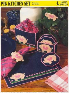 Pig Kitchen Set Plastic Canvas - would prefer sheep, but like the concept! Plastic Canvas Coasters, Plastic Canvas Ornaments, Plastic Canvas Crafts, Plastic Canvas Patterns, Pig Kitchen, Kitchen Sets, Kitchen Canvas, Pig Crafts, Yarn Storage