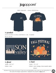 JCG Apparel : Custom Printed Apparel : SON Valley Fall Festival T-Shirt #sonvalley #fallfestival #fall #pumpkins