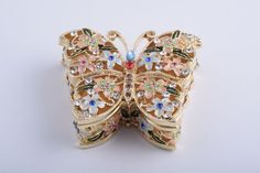 Butterfly with Flowers Faberge Styled Trinket Box Handmade by Keren Kopal Enamel Painted Decorated with Swarovski Crystals