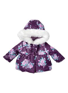 Baby Girls + Accessories Rose Print Puffer Purple Passion jacket