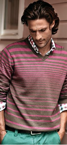 8d8f2bd82c5ab Great outfit. Love the combo of checks and muted stripes on the sweater,  with