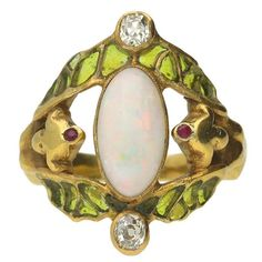 1900s Art Nouveau French Opal Ruby Diamond Gold Ring For Sale at 1stdibs