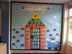 My VCOP display, quite proud of it I have to admit! We have a boring word jail, if the we put the word in jail, we can't use it in our writing. All the words are attached with velcro so that it's fully interactive. Together the children and I will add more words.