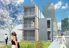 Rendering of the three-unit prefab disaster housing planned for Brooklyn. (Courtesy Garrison Architects)    #LDSEmergencyresources #Disasterplanning