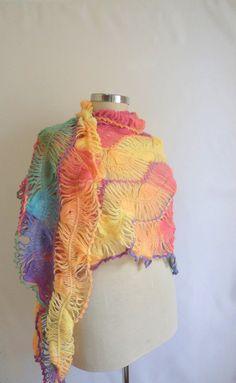 Rainbow Shawl Multicolor weddingbride by modelknitting on Etsy, $54.90