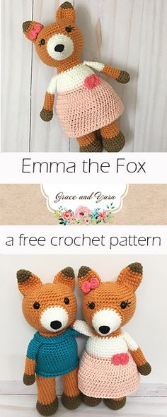 Meet Emma the Fox, a fun and free amigurumi pattern on my blog!