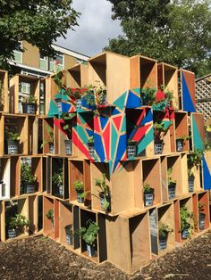 Installation made of reclaimed wood painted creating the heart of the fam thanks to an anamorphosis Design Studio London, London Design Festival, Farms In London, Slow Design, Design Movements, Graphic Design Studios, Sustainable Design, Growing Plants, Innovation Design