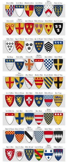 Modern illustration of The Dering Roll of Arms - Panel 2 - arms 55 to 108.  Includes the arms of my ancestors Warin de Bassingbourn and Peter de Montfort