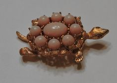 Vintage Pink Glass Cabacon Turtle Brooch Pin by toyhstreasures
