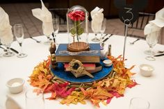 One Bride's Love of Disney Movies Inspired These Jaw-Dropping DIY Centerpieces wedding centerpieces These Super Elaborate, Disney-Inspired Centerpieces Will Actually Blow Your Mind Disney Theme, Disney Diy, Disney Prom Themes, Disney Decorations, Disney Belle, Tree Decorations, Fall Wedding Centerpieces, Wedding Table, Banquet Centerpieces