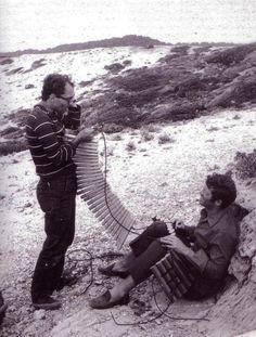 """Jean-Luc Godard and Jean-Paul Belmondo on the set of """"Pierrot le Fou"""" (1965)"""