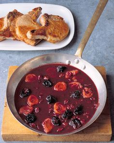 Pork Chops with Red-Wine Sauce Recipe -- great for a romantic dinner for two